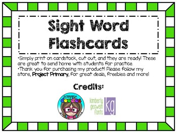Sight Word Flashcards (growing set)