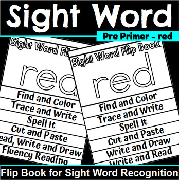 Sight Word Flip Book for red