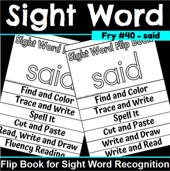 Sight Word Flip Book for said