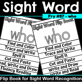 Sight Word Flip Book for who
