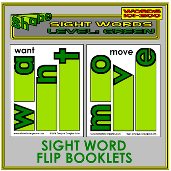 Sight Word Flip Books: GREEN LEVEL (Second 100 Word List)