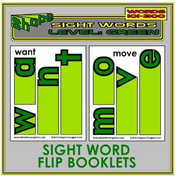 Sight Word Flip Books: GREEN LEVEL (Second 100 Word List)
