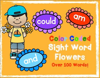 Sight Word Flowers - Color Coded - over 100 Words