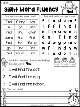 Sight Word Fluency Activities (Set 1)