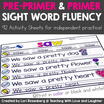 Sight Word Fluency Activity Sheets {Pre-Primer and Primer Edition}