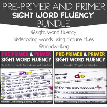 Sight Word Fluency Bundle {Pre-Primer and Primer Edition} Distance Learning