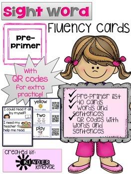 Sight Word Fluency Cards {Pre-Primer}