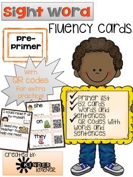 Sight Word Fluency Cards {Primer}