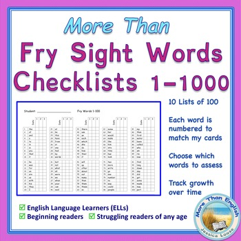More Than SIGHT WORDS for Fluency Checklists