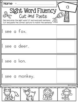 Sight Word Fluency Cut and Paste (Pre-Primer)