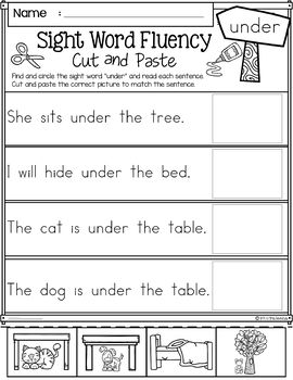 Sight Word Fluency Cut and Paste (Primer)