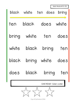 SIGHT WORD FLUENCY PRACTICE: Dolch Speed Drills Lists 7-9