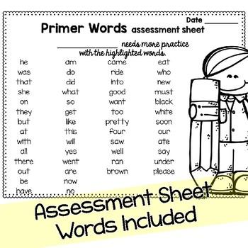 Sight Word Fluency Flashcards: DOLCH Primer