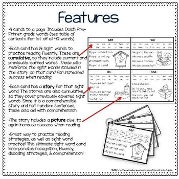 Sight Word Fluency Flashcards: DOLCH Pre-Primer