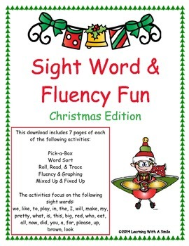 Christmas Sight Word & Fluency ~ Beginning Readers