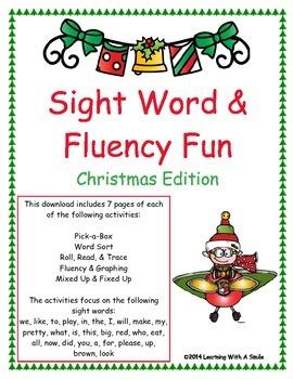 Christmas Sight Word & Fluency ~ Beginning Readers