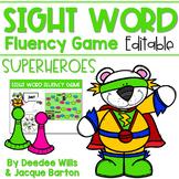 Sight Word Fluency Game (editable) | SUPERHEROES