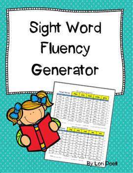 Sight Word Fluency Generator