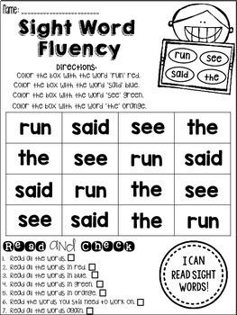 Sight Word Fluency Practice *Mini BUNDLE*