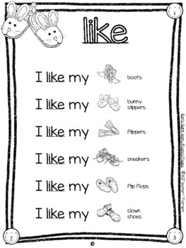 Sight Word Rebus Fluency Pages for Early Primary