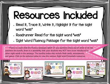 Sight Word Fluency Passage #19: WAS