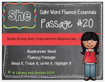 Sight Word Fluency Passage #20: SHE