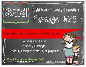 Sight Word Fluency Passage #25: SAID