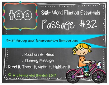 Sight Word Fluency Passage #32: TOO
