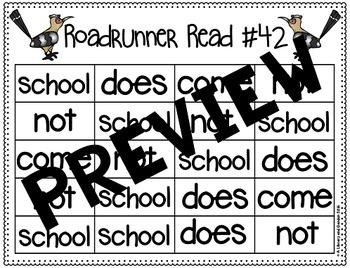 Sight Word Fluency Passage #42: SCHOOL