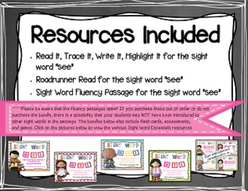 Sight Word Fluency Passage #5: SEE
