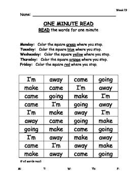 Sight Word Fluency Passages