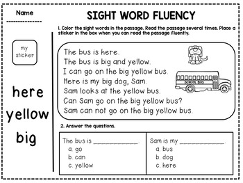 Sight Word Fluency Passages for Kindergarten and First Grade
