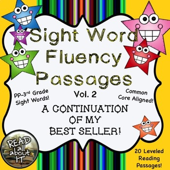 Sight Word Fluency Passages (intervention)-20 Leveled Passages-Vol. 2