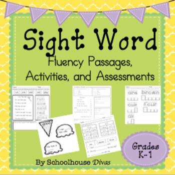 Sight Word Fluency Passages, Assessments, Activities (K-1st)