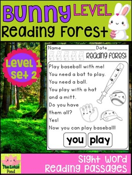 Sight Word Fluency Passages Intervention - Reading Forest Bunny Level 1 : Set 2