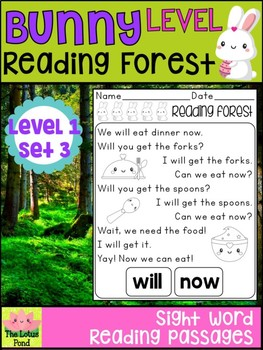 Sight Word Fluency Passages Intervention - Reading Forest Bunny Level 1 : Set 3