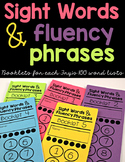 Sight Word Fluency Phrase Booklets