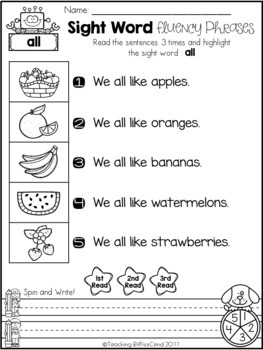 Sight Word Fluency Phrases (The Bundle)