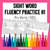 Sight Word Fluency Practice 1 Fry Words 1-100 for Distance