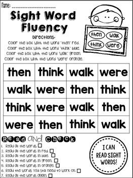 Sight Word Fluency Practice *1st Grade*