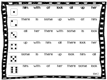 Sight Word Roll and Read