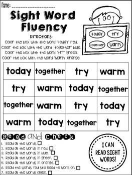 Sight Word Fluency Practice *3rd Grade List*