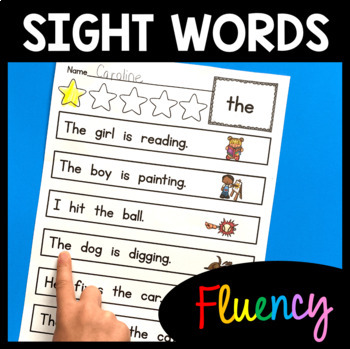 Sight Word Fluency Practice - 72 Words - Color & BW - Sentences - Picture Icons