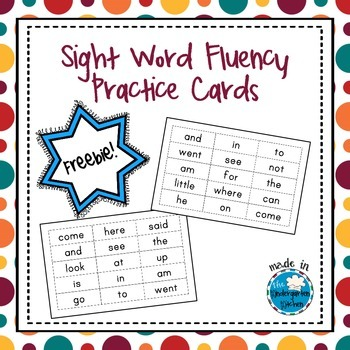 Sight Word Fluency Practice Cards Freebie