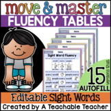 Sight Word Fluency Practice - EDITABLE | Sight Word Move & Master Fluency Tables