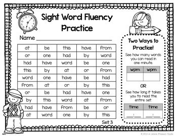Sight Word Fluency Practice Pages (Fry Words 1-500)