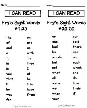 Sight Word Practice Pages {Dr. Fry's First 100 Words}