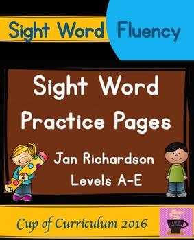 Sight Word Practice Pages {Jan Richardson Levels A-E}