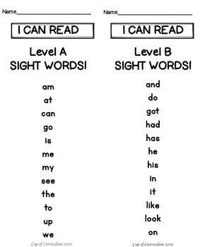 Sight Word Practice Pages {Jan Richardson Levels A-E}
