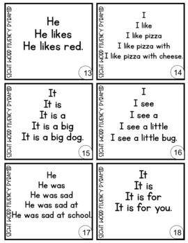 Sight Word Fluency Pyramids, Kindergarten, First Grade